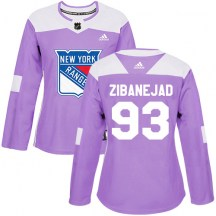 New York Rangers Women's Mika Zibanejad Adidas Authentic Purple Fights Cancer Practice Jersey
